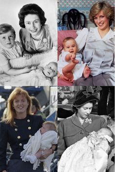 Royal Baby Pictures - Queen Elizabeth with Prince Charles, Lady Diana with Prince William, Fergie with Princess, Queen Elizabeth with Princess Anne