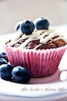 White Chocolate & Blueberry Muffins -  Valkosuklaa-mustikkamuffinssit, Yammy! White Chocolate, Blueberry, Muffins, Pudding, Baking, Breakfast, Sweet, Desserts, Food