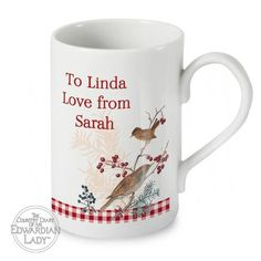 Personalised Country Diary Slim Mug - Midwinter Personalized Christmas Mugs, Slim, Country, Tableware, Dinnerware, Rural Area, Dishes, Country Music, Place Settings