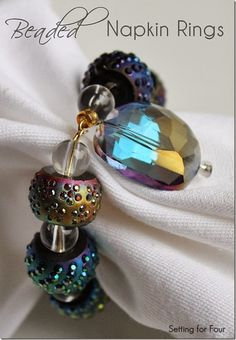 I love the sparkle of these pretty DIY Beaded Napkin Rings. Great gift idea!