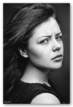 "She looks angry...o.O Maybe, ""Why are you leaving me?"" Powerful expression. Emotion, girl, portrait, intense, photo b/w."