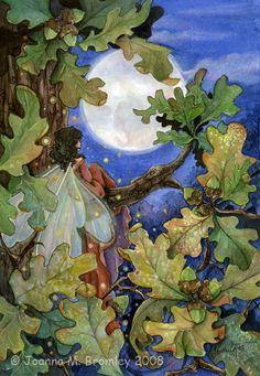 Autumn Moon- 7 x 10 inch fine art print , seasonal fall/ autumn fairy fantasy illustration