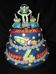 This is my 14th Fondant Cake and 2nd Buzz Cake. (May 2011) I made the aliens from fondant mixed with tylo powder. Used my sons toy alien as inspiration. Made the rest of decorations from fondant. Buzz is a toy!! Hope you enjoy!!