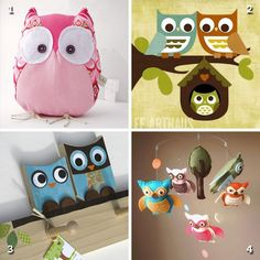 I love owls, and I think these are the cutest owls I've ever seen! 1. Magda the owl by contemori 2. Owl family tree print by leearthaus 3. Mother hoot and baby owl peg rack (eco-friendly!) by Maple Shade Kids 4. Life's a hoot baby ...