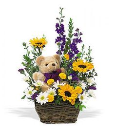 Order Basket & Bear Arrangement from Bayside Florist Inc., your local Bayside florist. Send Basket & Bear Arrangement for fresh and fast flower delivery throughout Bayside, NY area. Get Well Flowers, Cheap Flowers, Send Flowers, Cut Flowers, Basket Flower Arrangements, Floral Arrangements, Angels Garden, New Baby Flowers, International Flower Delivery