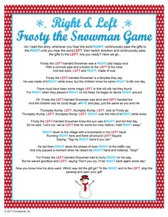 Gift Exchange - Right & Left Frosty the Snowman Game
