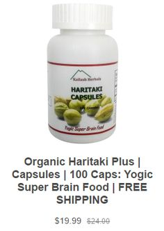 Haritaki Is used for third eye awakening, increasing brain function, cleansing the pineal gland, increased memory, and digestive function. Haritaki is an Indian herb known as the king of herbs in Ayurveda. It has anti-bacterial properties which increase digestive health and elimination. Recommended by Paramahamsa Nithyananda. Buy organic haritaki from this web site.