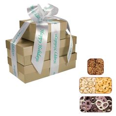 Don't have time to shop for a Gift and wrap it? Let us do all the dirty work for you! The Four Seasons Gift Box Tower - Pretzels, Pistachios, Nuts comes ready for the Holidays. All you have to do is press a button! Corporate Gift Baskets, Corporate Gifts, Corporate Christmas Gifts, Holiday Gifts, Themed Gift Baskets, Client Gifts, Pistachios, Business Gifts, Chocolate Gifts