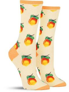 Goodness me! These fun Georgia peach socks are just so sweet that they're giving us the vapors! We're going to need to set a while on the veranda with a tall, cool glass of peach tea! Perfect with a s