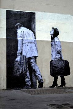 """The Departure"" New Piece By Levalet on the streets of Paris, France. 4"