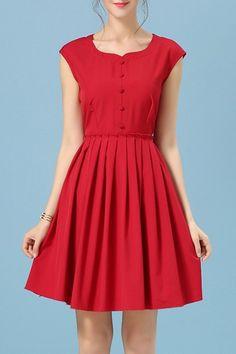 Colher Retro Pescoço doces cores vestido sem mangas para as Mulheres