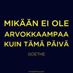 Mikään ei ole arvokkaampaa kuin tämä päivä. — J.W. von Goethe