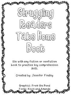 Struggling Readers Take Home Book for Comprehension Practice - Teaching to Inspire with Jennifer Findley Reading Lessons, Reading Resources, Reading Strategies, Reading Skills, Guided Reading, Teaching Reading, Reading Activities, Teaching Ideas, Reading Groups