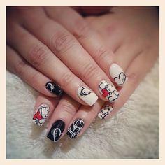 black, white with red heart gel nail  #nails #nail #fashion #style #TagsForLikes #cute #beauty #beautiful #instagood #pretty #girl #girls #stylish #sparkles #styles #gliter #nailart #art #opi #photooftheday #essie #unhas #preto #branco #rosa #love #shiny #polish #nailpolish #pikapika_nails
