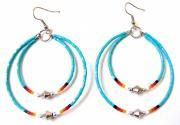 TEAL DOUBLE MEMORY WIRE EARRINGS WITH CUTGLASS BEADS