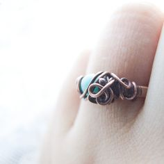 amazonite ring rustic elvish copper ring amazonite by KicaBijoux