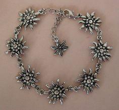 German Bracelet with 7 Edelweiss Flowers Crystal White Oktoberfest ...