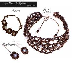 Conjunto reina de Africa: cuero oro viejo, perlas cultivadas y plata.Beatriz Clara