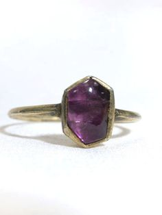 Medieval Amethyst Ring: ca. 1450, English (most likely), cabochon amethyst set into silver gilt bezel and shank.