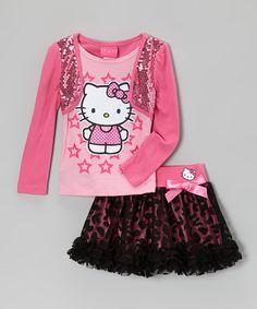 Paris Pink Sequin Layered Tee & Leopard Ruffle Skirt - Girls