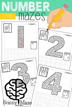 Free Educational Mazes for Kids! This set of free number mazes includes ASL, Counting Practice, Handwriting and more! Children build small motor control skills with our fun, and educational worksheets. Mazes For Kids Printable, Free Printable Numbers, Free Printable Worksheets, Worksheets For Kids, Free Printables, Easter Worksheets, Numbers For Kids, Numbers Preschool, Maze Worksheet