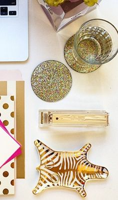 Love these glitter coasters & gold stapler!