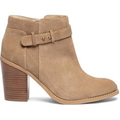 Crafted from suede this bootie features sleek hardware an ankle accent and a chunky block heel that's incredibly comfortable to walk in.  Definitely an outfit-…