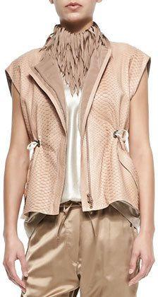 Brunello Cucinelli Python Zip-Front Vest on shopstyle.com