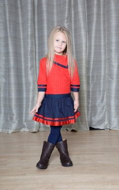 Convertible Collar Dress - The Dragon and the Rabbit  - Leggings available at http://www.thedragonandtherabbit.com/categories/GIRLS/Pants-%26-Jeans/Leggings/