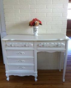 """Vintage French Provincial Furniture repainted in Annie Sloan """"pure white""""."""