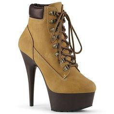 Hot For Heels And More - Pleaser Tan Nubuck Faux Leather And Dark Brown Matte - Lace-up front bootie featuring padded collar and rubber lug outsole, inside zip closure. Tan Ankle Boots, Black Platform Boots, High Heel Boots, Ankle Booties, Black Boots, Heeled Boots, High Heels, Boot Heels, Platform Shoes