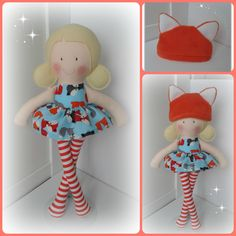 17 inch Modern Ragdoll, with removable skirt and cute fox beanie hat made using a mixture of 100% cotton and 100% wool felt. www.facebook.com/honeybeeforkids