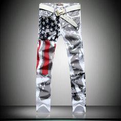 Item Type: JeansGender: MenMaterial: Denim,Cotton,ModalFabric Type: SoftenerClosure Type: Zipper FlyDecoration: PocketsPants Features : American flag printing S