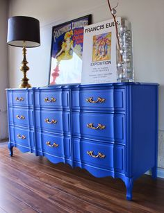 This was such a lovely French piece. I knew I wanted to go for a bold look with it. I used a cobalt blue combined with gold hardware. Blue Furniture, Refurbished Furniture, Paint Furniture, Repurposed Furniture, Furniture Projects, Furniture Makeover, Furniture Design, Bedroom Furniture, Cobalt Blue Bedrooms