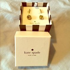 ♠️KATE SPADE Gold Multi-Earring Set♠️ Kate Spade New York Gold-Tone Pave Bar Stud Earrings Boxed Set. This set features a pair of gold-tone pave crystal bar stud earrings and a pair of gold-tone glitter stud earrings. The set comes already in an adorable striped box.  Perfect for gift-giving or to treat yourself! kate spade Jewelry Earrings
