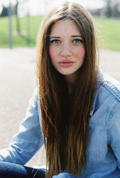 long straight brown hair, natural, pretty