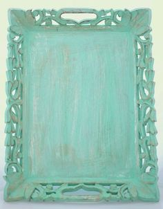 Shabby Chic Carved Tray - Bring a little teal to your room!