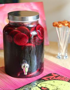 Spiced Rum and Red Wine Sangria - perfect for a Walking Dead or Halloween party!