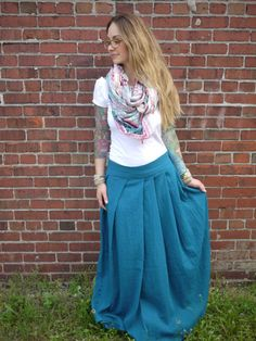 Breezy Boho Teal Gauze Pleated Maxi by Clementinyclothing on Etsy