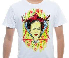 Camiseta Básica na cor Branco - Ilustração Para Frida  por Wanderson Gonçalves Viana de Souza