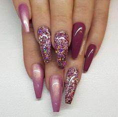 super ideas for nails coffin mauve colour Mauve Nails, Burgundy Nails, Pink Nails, Red Sparkle Nails, Red Chrome Nails, Sparkly Nails, Matte Pink, Pastel Nails, Berry Nails