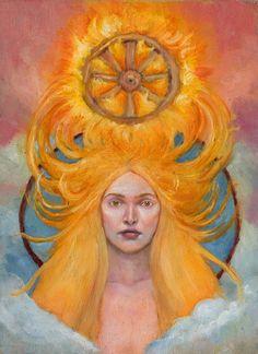 Sól (Sunna), goddes of the Sun Nordic Goddesses, Norse Religion, Vikings, Celtic Goddess, Fantasy Photography, Prayer Cards, Norse Mythology, Visionary Art, Psychedelic Art