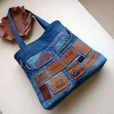 Denim Bag with Labels. Man, this is really cute!