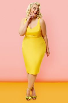 Tara Starlet: The Peggy Dress - Yellow | Plus Size Curve Fashion, wiggle dress 100% cotton, pin up girl style retro inspired.