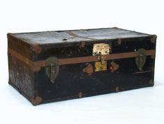 Vintage Trunk; Vintage Luggage; Black Trunk; Metal Trunk; Foot Locker; Vintage Travel; Coffee Table by PurpleMouseStories on Etsy