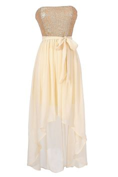 Cream and Gold Sequin High Low Strapless Dress  www.lilyboutique.com