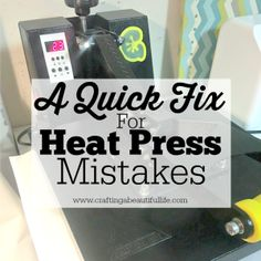 Learn how to fix the heat press mistake crafter make with creating Cricut and Silhouette heat-transfer vinyl crafts with this quick and easy tutorial. Inkscape Tutorials, Cricut Tutorials, Cricut Ideas, Diy Vinyl Projects, Vinyl Crafts, Craft Projects, Buy Vinyl, Cricut Vinyl, Cricut Air