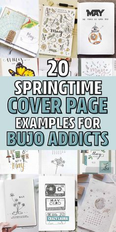 Need some springtime bullet journal inspiration for your cover page spread? Check out these 20 awesome May examples for ideas! February Bullet Journal, Bullet Journal For Beginners, Bullet Journal Font, Bullet Journal Themes, Bullet Journal Inspiration, Journal Ideas, Bullet Journals, To Do Planner, Planner Ideas
