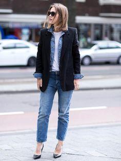STYLIGHT Streetview: der beste Streetstyle des Tages! Heute mit Jeansjacke und Blazer