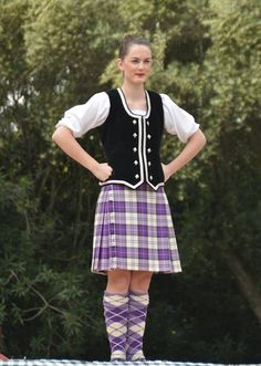 Kilt with black vest #menzies #purple #tartan
